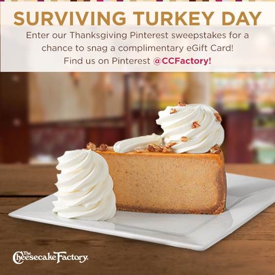 Calling all home chefs! Enter our Pinterest giveaway! Pin your favorite Thanksgiving Survival Tips & Tricks now until November 27th, and you could score $100 in Complimentary eGift Cards. Enter for a chance to win here: http://bit.ly/CCFTurkeyDay *Sweepstakes period from November 11, 2014 to November 27, 2014.  No purchase necessary. See Official Rules at http://bit.ly/CCFTurkeyDay for limits on eligibility and description of prize