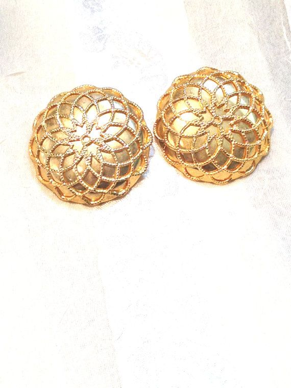 Vintage Clip Earrings Bold Gold Ons With Scrollwork Estate Jewelry C