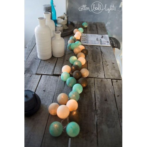 Cotton Ball Lights - Świetlna girlanda Peppermint Chocolate 50 kul - sprawdź na myhome.pl