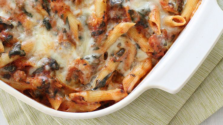 Baked Pasta with Sausage and Spinach Recipe