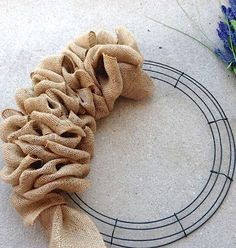 burlap wire wreath frame idea                              …