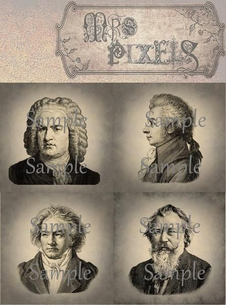 Classic composers portraits are lovingly and lightly colored on stone textured background, shadows darken the lightly grunge effects edged 4 inch squares. #VintageImages #Digitaldownloads #ClassicalComposers #PortraitsImages #CollageElements