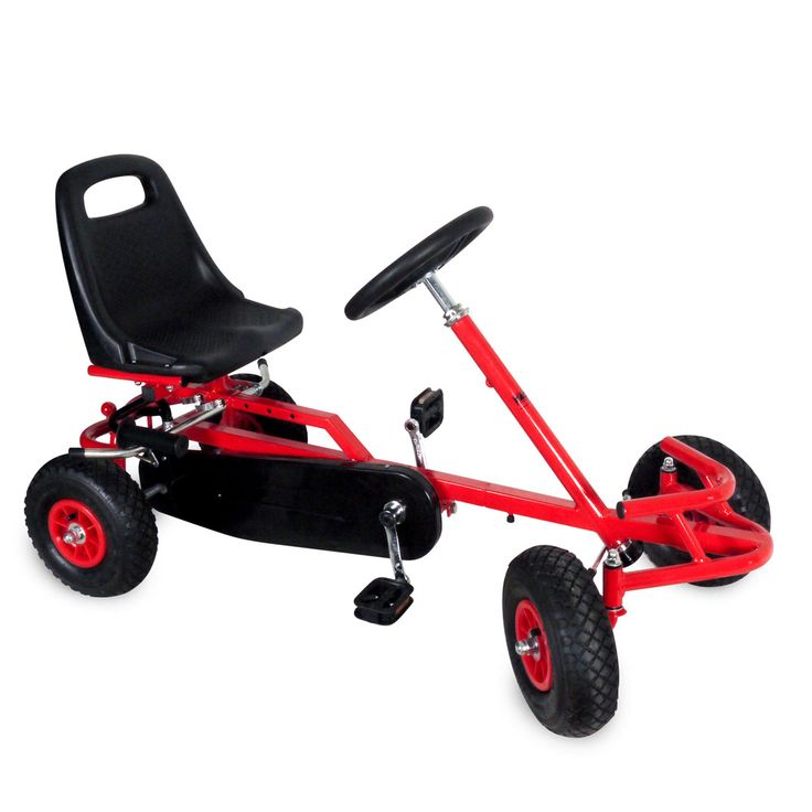 The Go Kart has a coated sturdy steel frame and coloured rims for a feature.  This retro style Go Kart has a handle back break, pedals and front axis for steering.