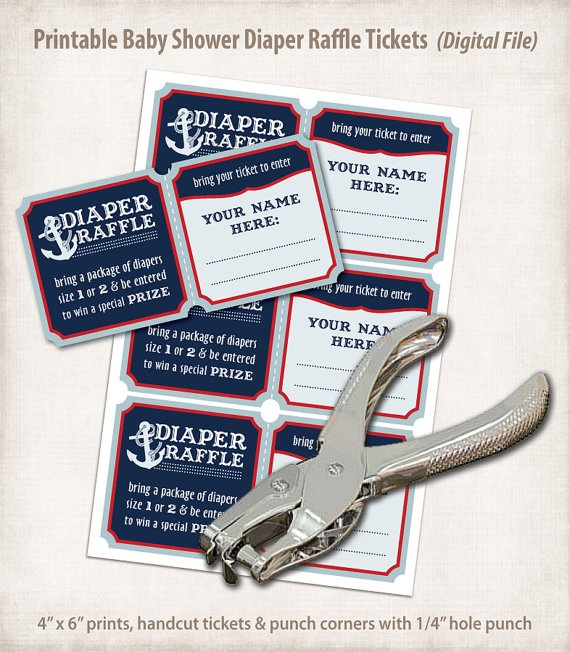 nautical baby shower: printable diaper raffle tickets {great idea in lieu of gifts, if mom chooses}
