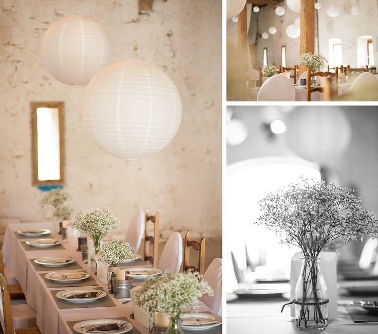 Hochzeit im Elsass, Tischdeko mit Schleierkraut, Le Morimont, Barn wedding, Frankreich, France, Destination Wedding