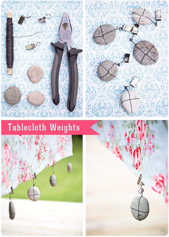 Tablecloth Weights by Craft & CreativityDiy Ideas, Outside Parties, Little Rocks, Diy Tablecloth, Picnics Tables, Outdoor Events, Clothing Weights, Crafts, Tablecloth Weights