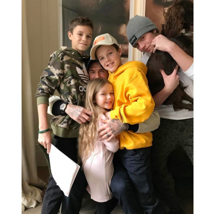 "Love fest! David Beckham embraced his four children, Romeo, Harper, Cruz and Brooklyn with a sweet hug. Alongside the photo, wife Victoria noted, ""I think they love him! We [heart emoji] you @davidbeckham X VB."