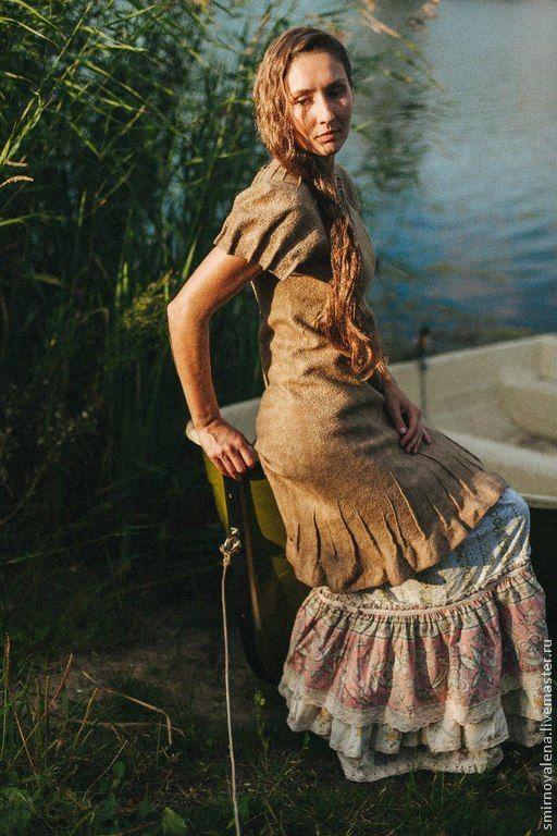 Купить Платье Медные монеты - золотой, Ассоль, смирнова елена, валяное платье, медное, золотистое