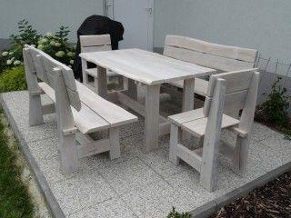 Dřevěný zahradní nábytek - masiv dub - bílá barva