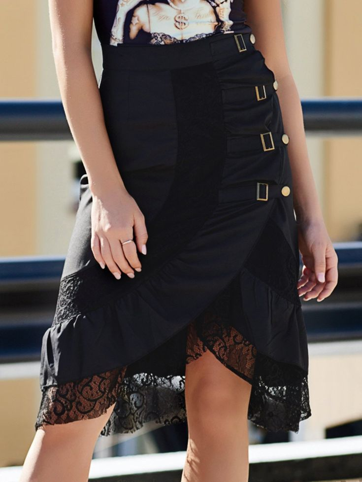 Fashionable Punk Style Women's Black Riveted Laced Skirt