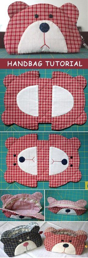 Japanese patchwork teddy bear quilt bag / zipper pouch sewing purse. http://www.handmadiya.com/2015/10/teddy-bear-quilt-bag-tutorial.html: