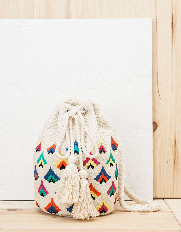 Multicolour detail pouch bag - Bags - Bershka Turkey