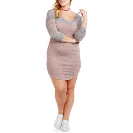 Plus Size No Comment Juniors' Plus V-Neck Football Dress, Size: 2XL, Pink