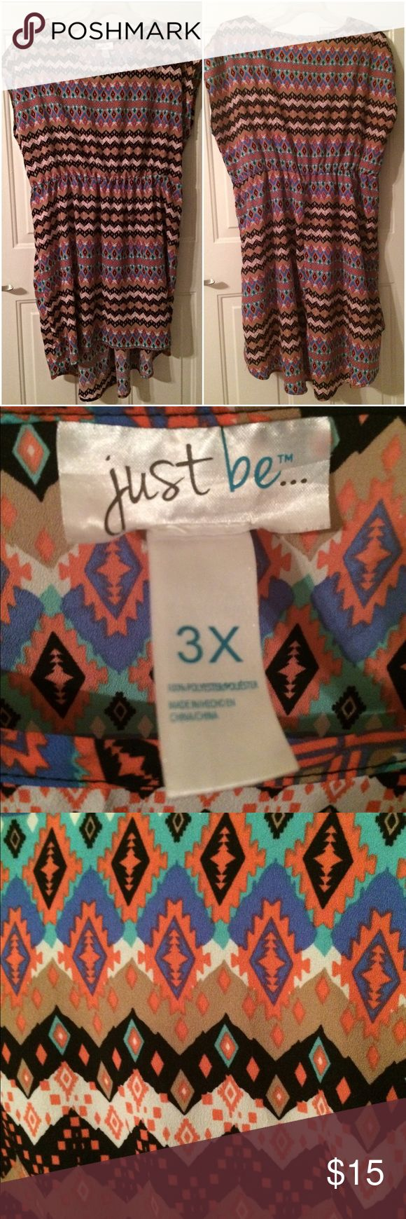 Nwot Aztec print hi lo plus size dress 3x Aztec print scoop neck hi lo dress! New with out tags! Size 3x! Light weight material. 20% off all bundles! I ship next day! Make me an offer. just be Dresses High Low