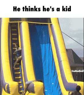 He thinks he's a kid GIF