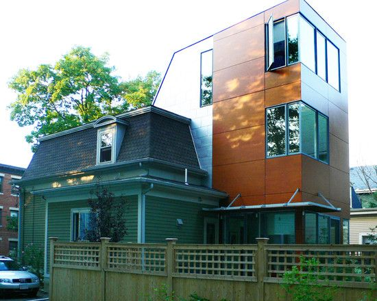 Striking Modern House Architecture with Three Storey: Ecelctic House Design Rustic Wood Fence Somerville Addition