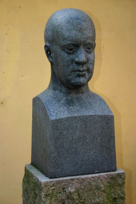 Portrait of Kai Nielsen made 1918 by his friend Johannes Kragh. The portrait-bust  was bought as Nielsens fame rose, and was placed in Svendborg where Kai Nielsen was born.