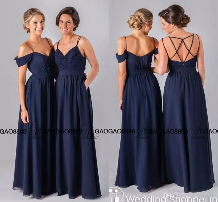Jenny Yoo 2016 Navy Blue Chiffon Long Cheap Bridesmaid Dresses Elegant Spaghetti Backless Beach Wedding Party Guest Bridesmaid Gown Bridesmaiddresses Charcoal Grey Bridesmaid Dresses From Gaogao8899, $71.61| Dhgate.Com