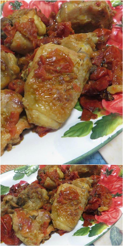 Pollo condito con pomodori e pesto! #pollo #pomodori #pesto #ricettegustose