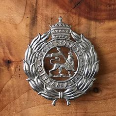 Haile Selassie Ethiopian police officers cap badge pin lion of Judah