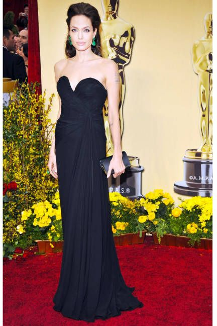 Simple and sleek always works for Angelina Jolie. (In Elie Saab at the Oscars, 2009)