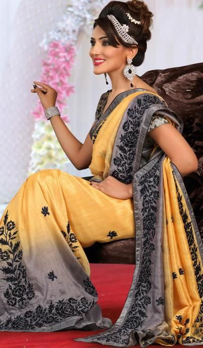 G3Fashions Yellow Grey Raw Silk Wedding Wear Designer Saree  Product Code : G3-LS11245 Price : INR RS 5464