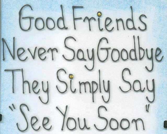Good friends never say goodbye. The say See You Soon. Friendship and goodbye quote. Awesome.