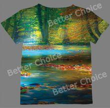 Track Schip + Verse T-shirt Top Tee Magic licht in de Spessart Bergen van Beieren Duitsland Rustige Flow in Bos 1028(Hong Kong)