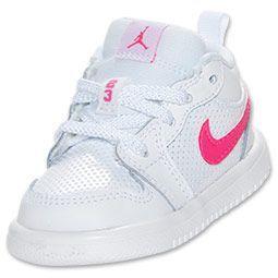 Girls' Toddler Air Jordan 1 Low Basketball Shoes  FinishLine.com   White/Pink Foil/Black