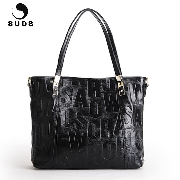 SUDS Brand Women Fashion Genuine Leather Shoulder Bags Ladies Large Capacity Letter Handbags Female Cow Leather Crossbody Bags