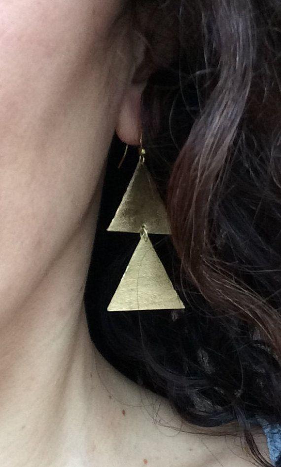 Triangle earrings bronze earrings handmade dangle earrings