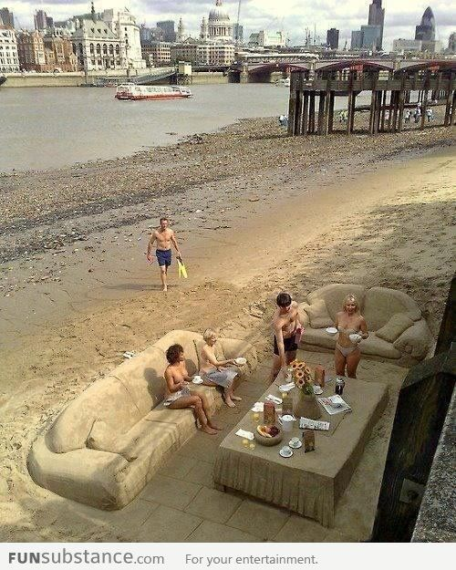 Incroyable Furniture Made Of Sand On The Beach