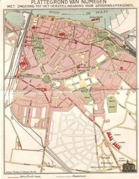 Plattegrond van Nijmegen met omgeving tot het herstellingsoord voor spoorwergpersoneel - 1915