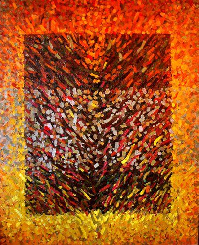 Anna Wolska - Abstract, 2008, impasto abstract painting, 100x100cm, oil on canvas [sold]