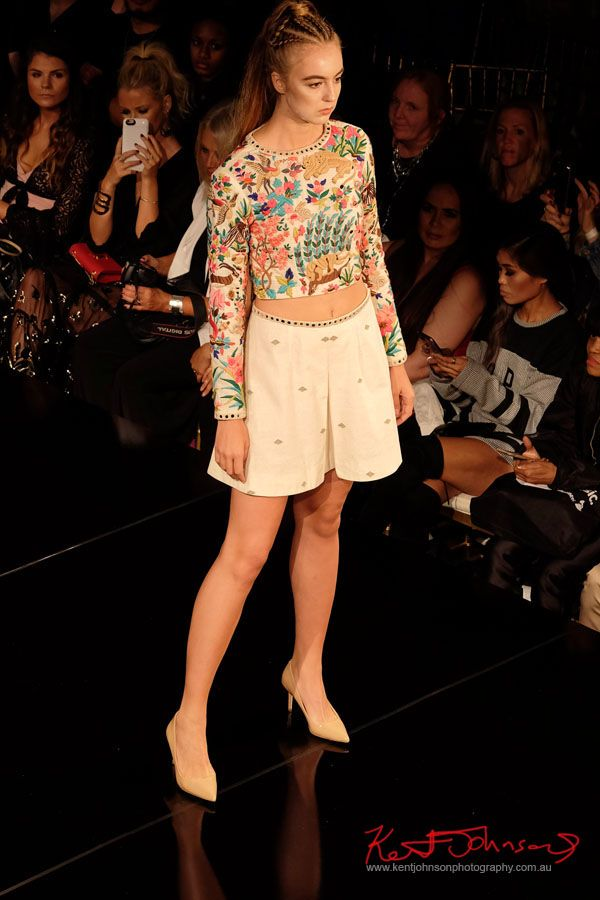Skirt and pull over top. Purvi Doshi shows at New York Fashion Week with Art Hearts Fashion. Photography by Kent Johnson for Street Fashion Sydney.