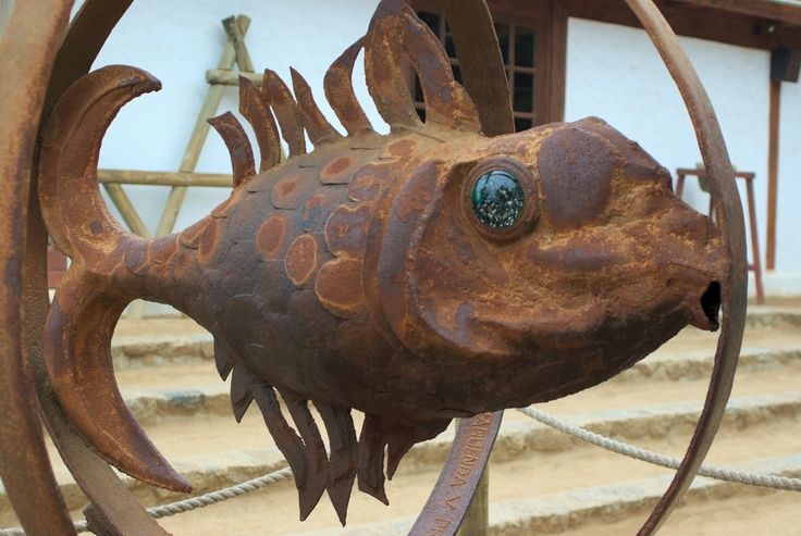 ISLA NEGRA, CHILE l Pablo Negro had several houses in Chile but the one at Isla Negra was his favorite. The author's home, now open to the public, was decorated by the poet and includes this fish sculpture and his collections of nautical artifacts. #authors_home