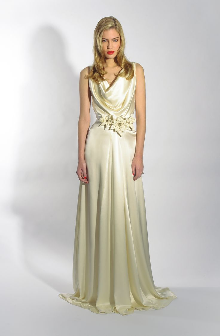 Vintage cowl neck wedding dress   best Dress images on Pinterest  Short wedding gowns Wedding
