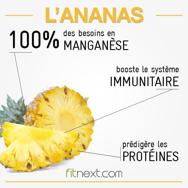 De par sa richesse en vitamine C et en manganèse, l'#ananas contribue à lutter contre l'apparition de l'ostéoporose. Ce fruit est aussi réputé pour sa teneur en bromélaïne, qui participe à la digestion des protéines. #fitfood #methodefitness #eatclean