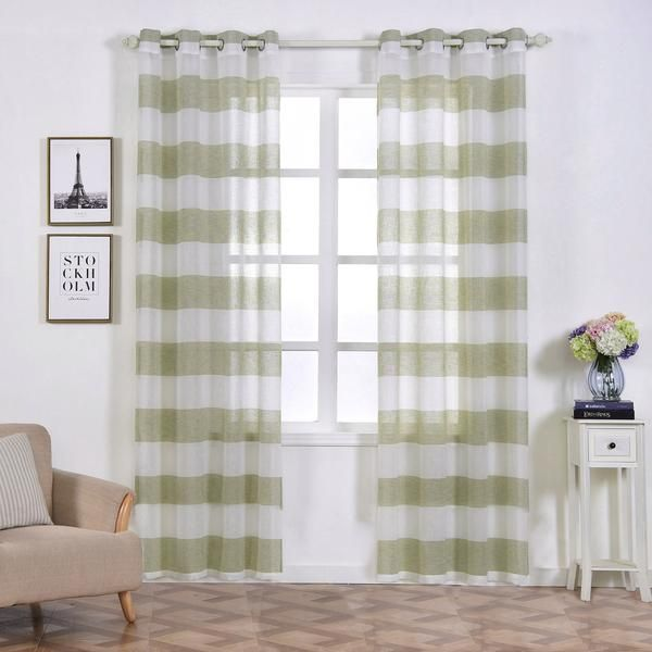 2 Pack 52 X 96 Cabana Print Faux Linen Curtain Panels With