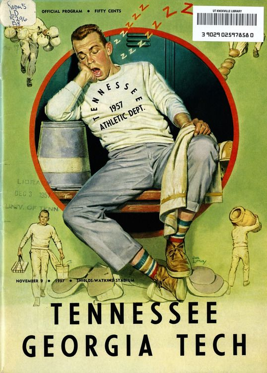 1957 football program cover of the Tennessee vs Georgia Tech game--billed as one of the all time best games in the 20th century.