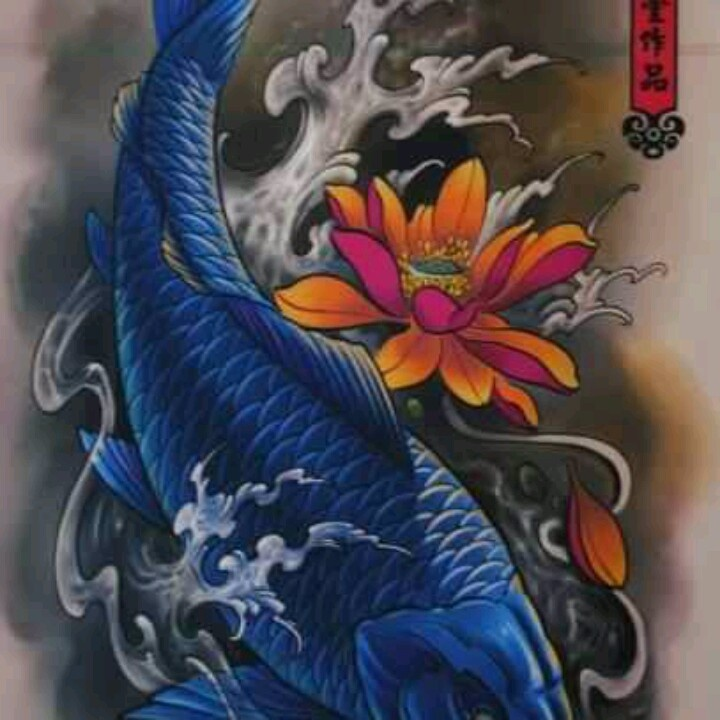 Blue koi tattos pinterest blue and koi for Best koi fish tattoo