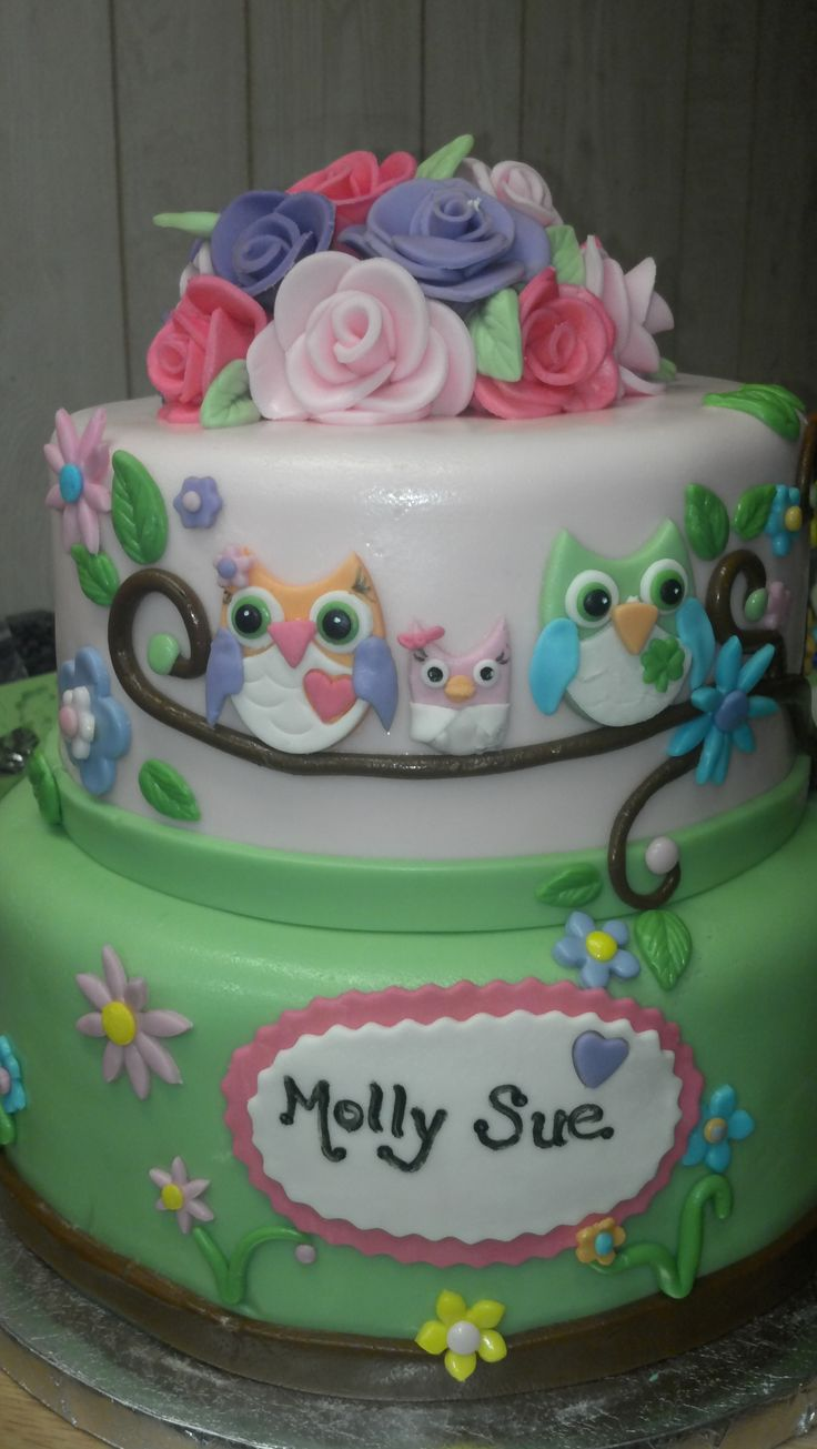 Owl Baby Shower Cake I would not use fondent