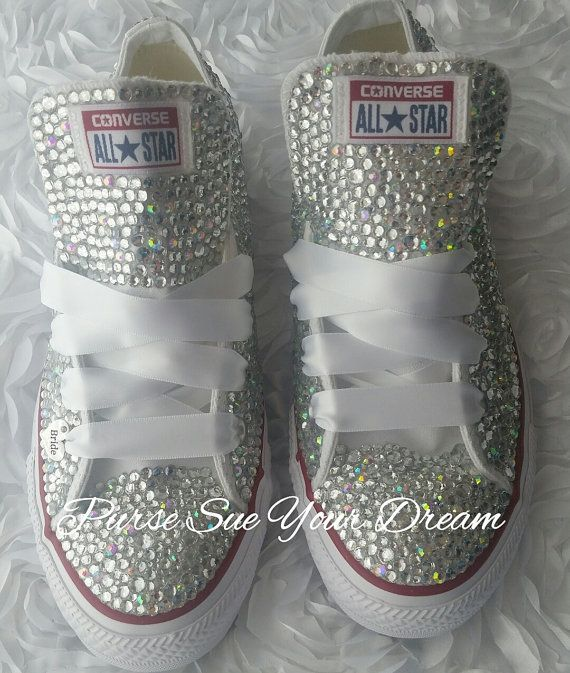 Custom Bridal Swarovski Crystal Converse Wedding Shoes - Swarovski Crystal…