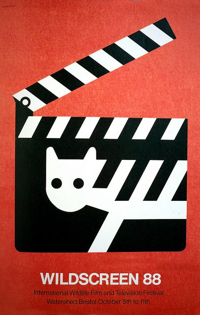 (Poster by Tom Eckersley advertising the International Wildlife Film and Television Festival at Watershed, Bristol) [1988] I have chosen this design because it appears simple enough to be able to Linocut quite easily. The Design also signifies film by using an iconic image of a movie clipboard.