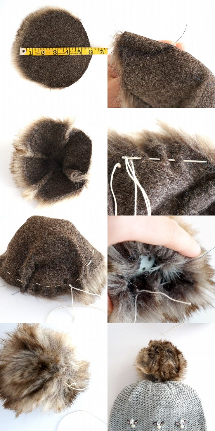DIY Faux Fur Pom Pom Tutorial | These pom moms are everywhere right now. If you have some scraps of faux fur laying around, this is the perfect sewing tutorial to use it up! Once you've made the fur pom pom, sew it on whatever you like, or put it on a pin so you can put it on anything, anytime! | www.elizabethave.com