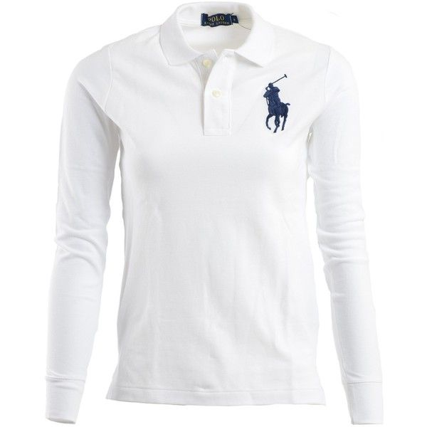 Ralph Lauren Polo Shirts ($94) ❤ liked on Polyvore featuring tops, white, ralph lauren shirts, longsleeve shirt, short tops, short shirts and white long sleeve top