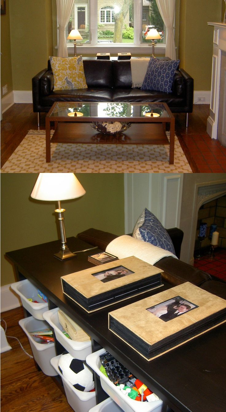 Behind Sofa Storage : Toy storage -- hidden behind sofa using the Ikea Hemnes sofa table and ...