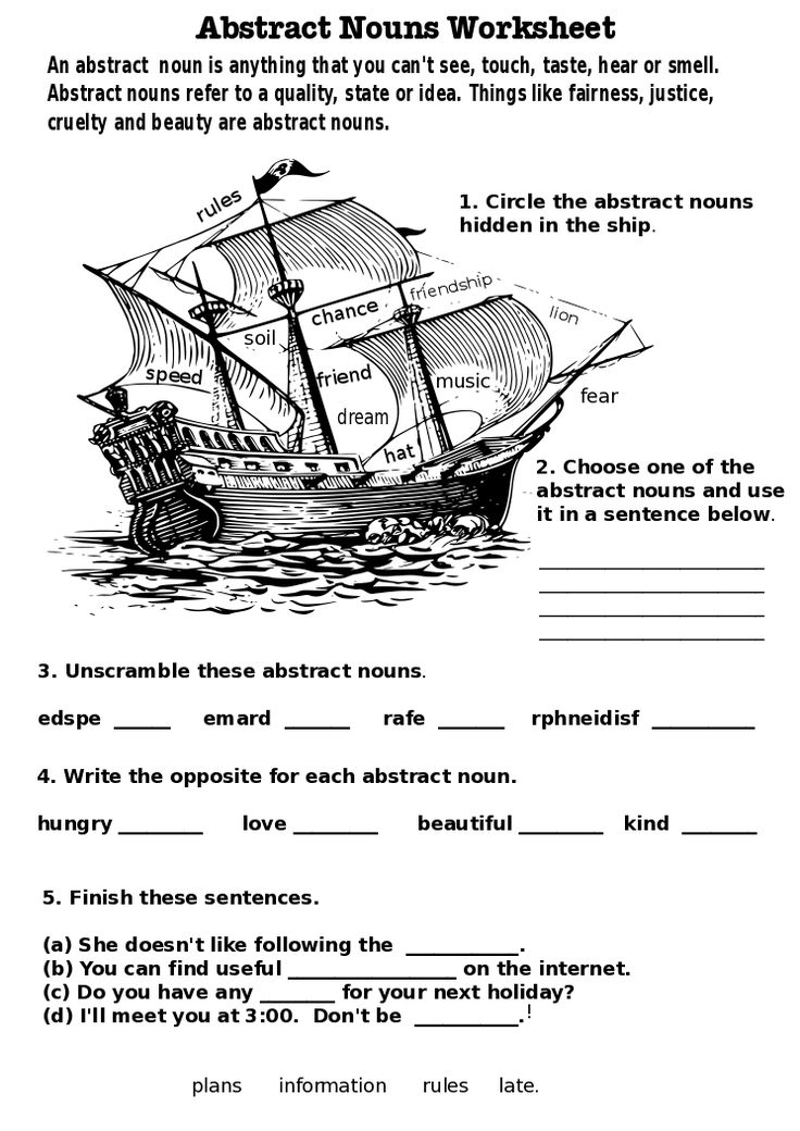 Writing a story in english examples of noun