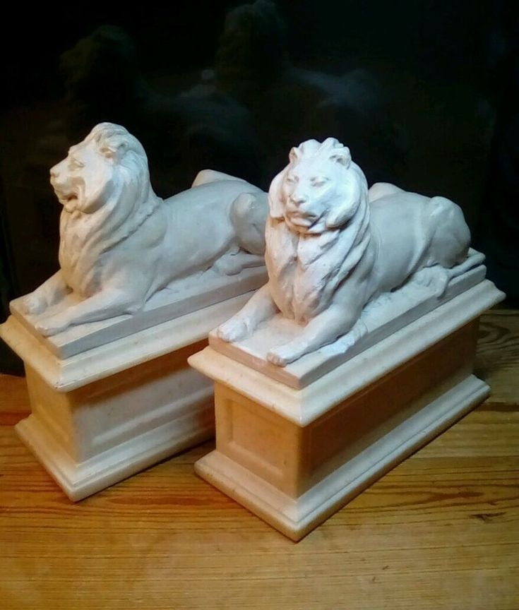 """These hard to find 1965 heavy bookends are in excellent condition. Slightly used but with out a scratch or chip. ALVA STUDIOS N.Y. Each lion weights over 3 pounds. 6"""" W x 7"""" H x 7"""" D. These beige composite made pieces were made by the Alva Museum Replicas, INC. in N.Y. 1948 to 1990 by Alfred Wolkenberg. Feel free to contact me with any questions. Thanks for looking. 