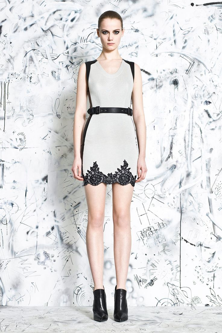 Ivory Lace Applique Fitted Dress + Black Double Buckle Belt by #Robert Rodriguez Collection  now available #villababoushka #fashion #egypt #concept store
